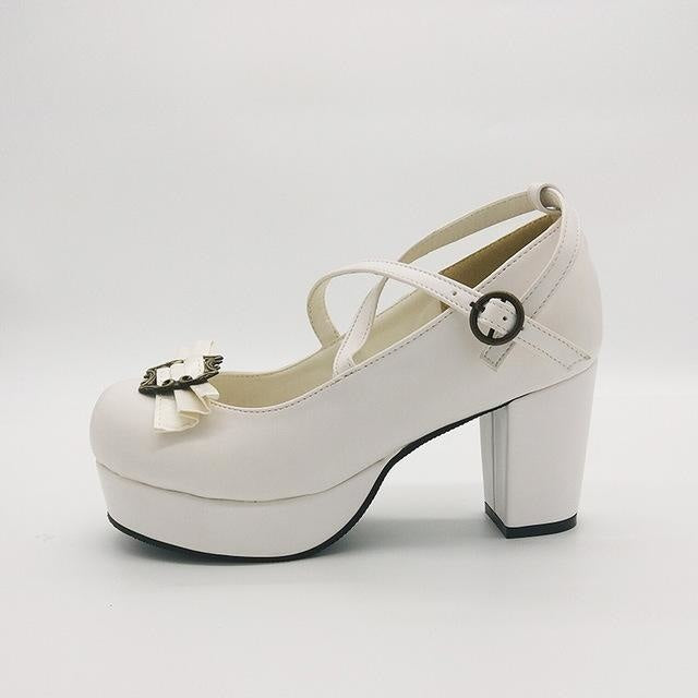 Victorian Bow Lolita Heels - White / 4 - Shoes