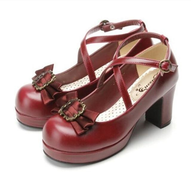 Victorian Bow Lolita Heels - Wine red / 4 - Shoes