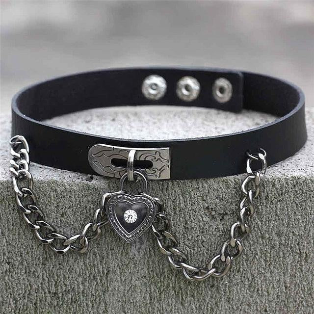 Black Victorian Goth Locket Collar Choker Necklace Vegan Leather Adjustable Lock & Key