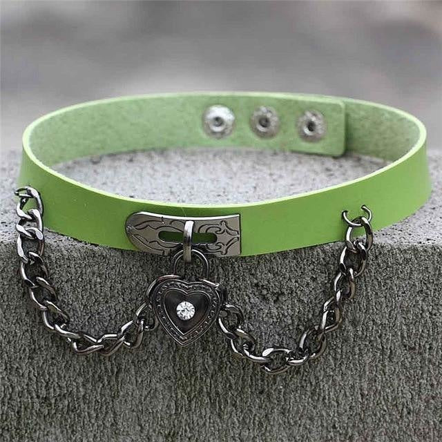 Green Victorian Goth Locket Collar Choker Necklace Vegan Leather Adjustable Lock & Key