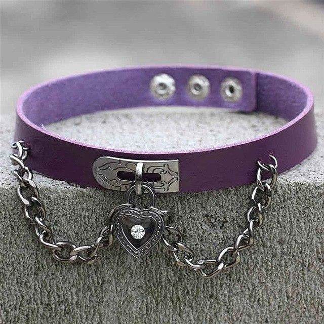 Purple Victorian Goth Locket Collar Choker Necklace Vegan Leather Adjustable Lock & Key