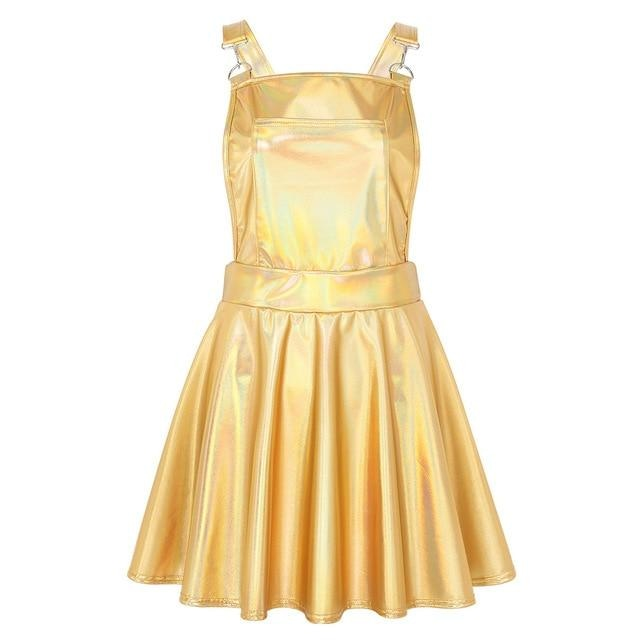 Vinyl Princess Jumpsuit - Gold / S - overalls