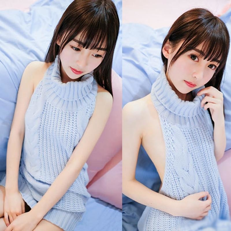 virgin killer sweater dress knit turtleneck sweatshirt long backless high neck cosplay anime girls harajuku japan kawaii fashion by ddlg playground