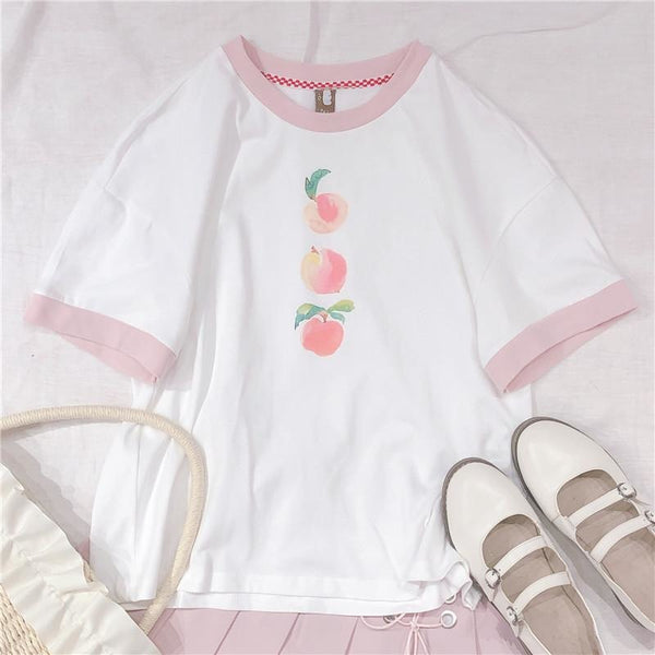Watercolor Peach White Pink T-shirt Tee Top Kawaii Pastel Aesthetic Harajuku Fashion