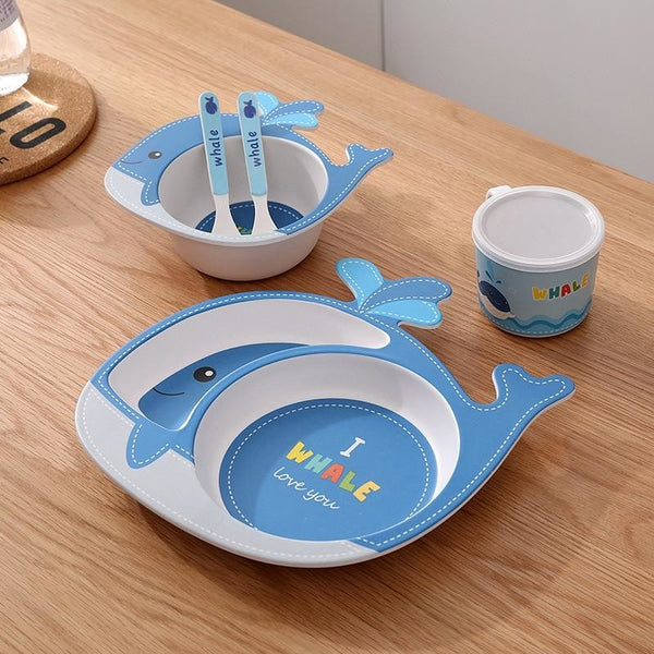 I Whaley Love You Dinner Set - blue, bowl, bowls, cartoon, cup