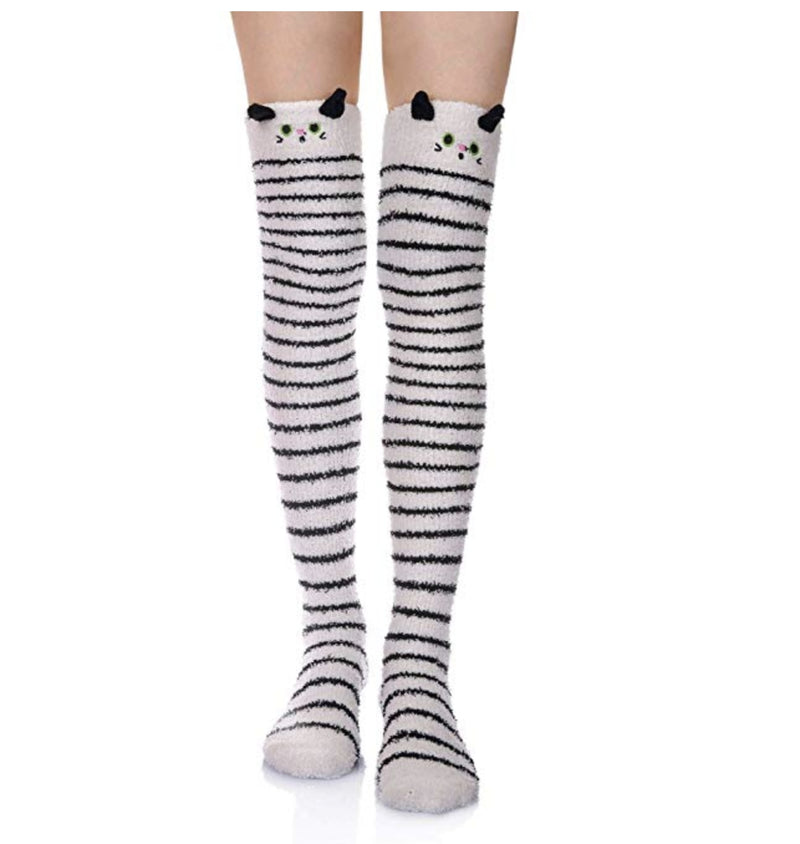 White Kitty Thigh Highs - socks