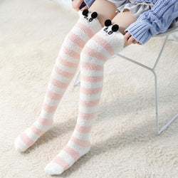 White Panda Thigh Highs - socks