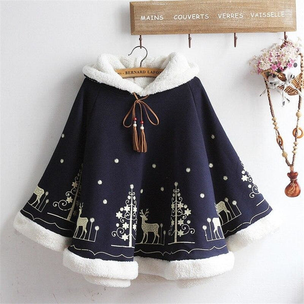 Winter Wonderland Fleece Poncho - hoodie