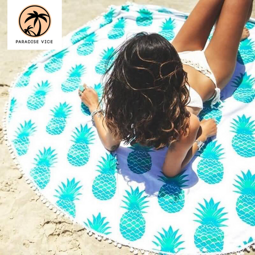 Round Pattern Print Beach Towel