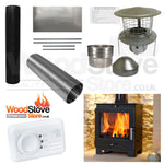 COMPLETE DEFRA FLAVEL 4.9KW MULTI FUEL STOVE/WOOD BURNING STOVE INSTALLATION KIT