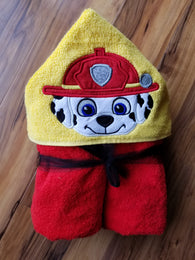 Fire Rescue Dog Hooded Towel