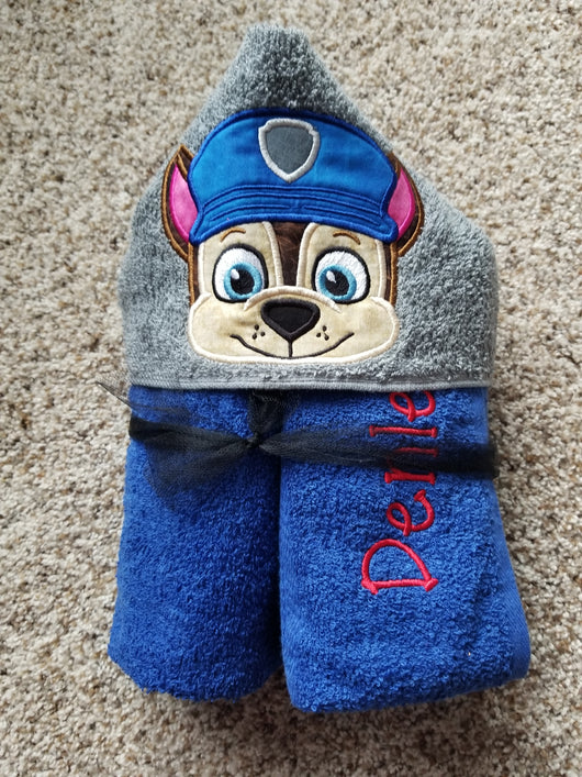 Police Dog Hooded Towel