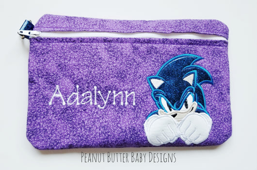 Blue Hedgehog Zipper Pouch