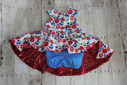 Berry Sparkle Top & Shorts-OOAK