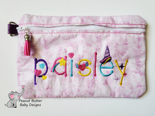 Unicorn Font Zipper Pouch