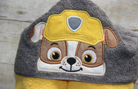 Construction Dog Hero Hooded Towel