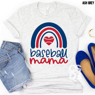 Baseball Mama| Rainbow/Heart | Adult | Screen Print