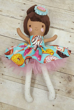 Handmade Doll, Rag Doll, Doughnut Lovers Gift, Fabric Doll, Custom Doll, Stuffed Doll, Baby Gift,Personalize Doll, Like Me Doll, Doughnut