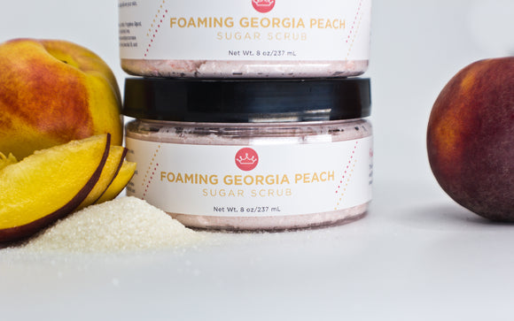 Foaming Georgia Peach Sugar Scrub (Large- 8 oz)