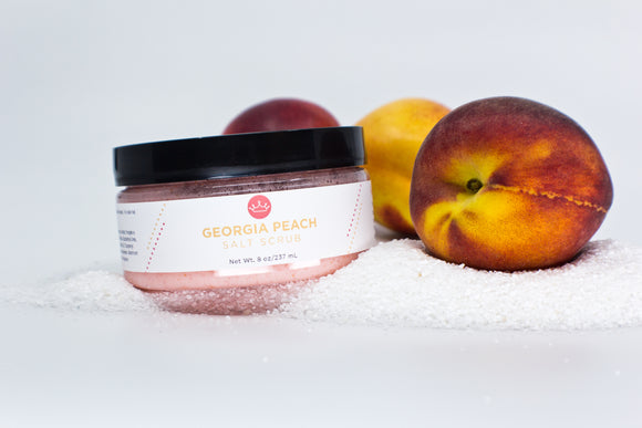 Georgia Peach Salt Scrub (Large- 8 oz)