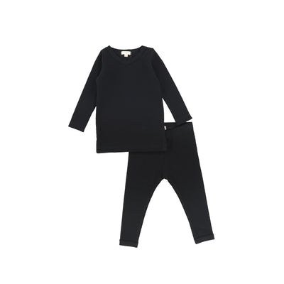 Lil Legs Long Sleeve Ribbed Sets - Black