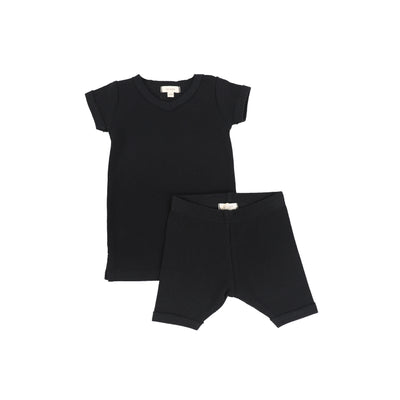 Lil Legs Short Sleeve Ribbed Sets - Black
