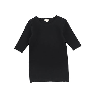 Lil Legs Ribbed Three Quarter Sleeve Tee - Black