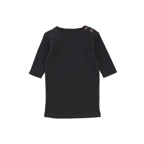 Lil Legs Three Quarter Sleeve Ribbed T-Shirt - Black