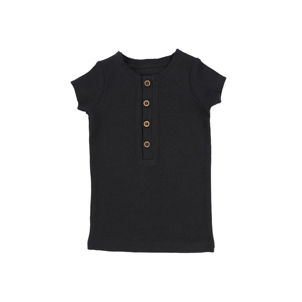 Lil Legs Short Sleeve Ribbed Center Button T-Shirt - Black