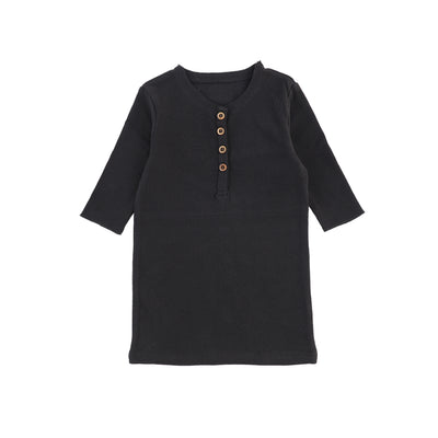 Lil Legs Three Quarter Ribbed Center Button T-Shirt - Black