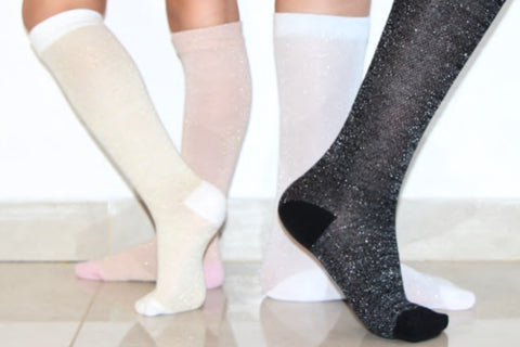 Blinq Collection Metallic Ribbed Ankle Socks