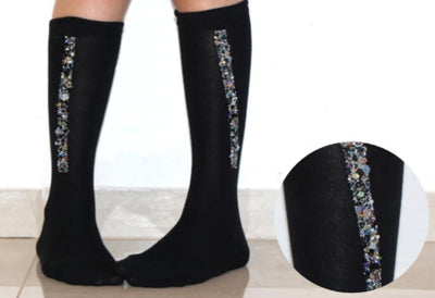 Blinq Collection Sequined Strip Knee Socks