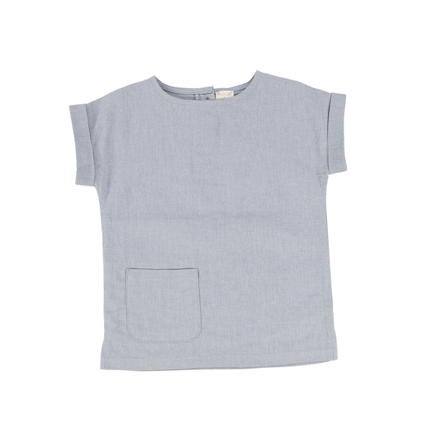 Analogie Boys Linen Pocket Shirt - Blue