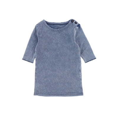 Lil Legs Three Quarter Sleeve Ribbed T-Shirt - Blue Wash