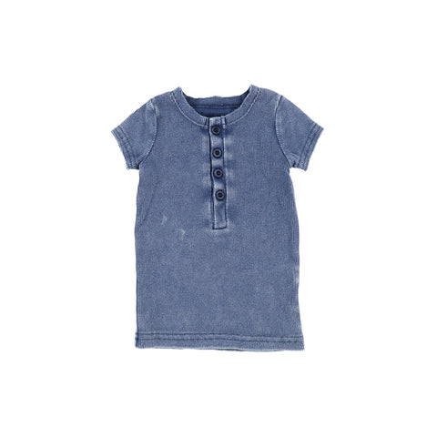 Lil Legs Short Sleeve Ribbed Center Button T-Shirt - Blue Wash