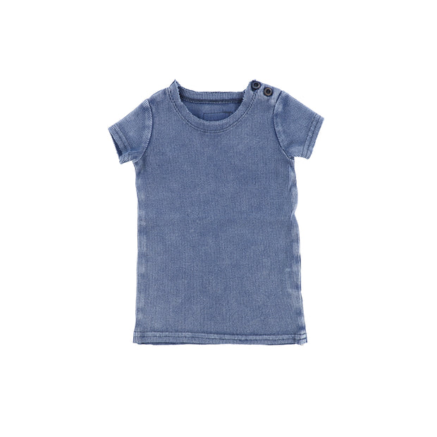 Lil Legs Short Sleeve Ribbed T-Shirt - Blue Wash