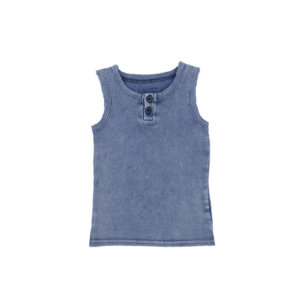 Lil Legs Ribbed Tank - Blue Wash
