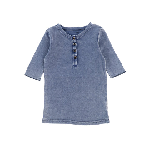 Lil Legs Three Quarter Ribbed Center Button T-Shirt - Blue Wash