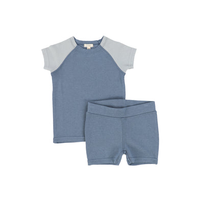 Lil Legs Short Sleeve Raglan Pajamas - Blue