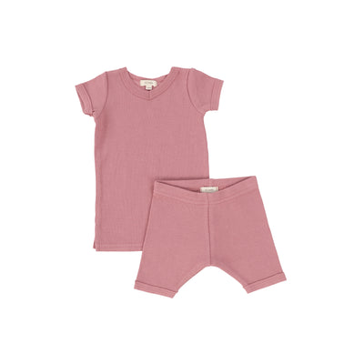 Lil Legs Short Sleeve Ribbed Sets - Blush