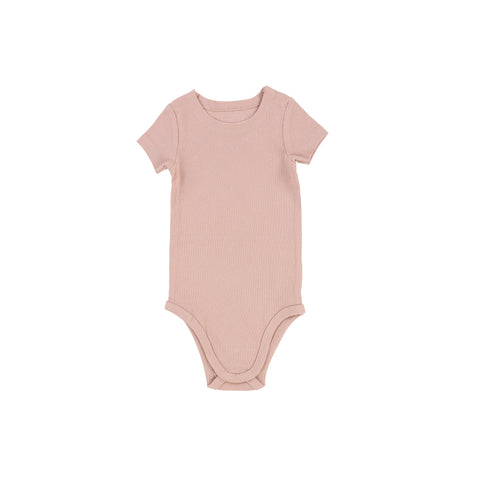 Lil Legs Short Sleeve Rib Onesie - Blush