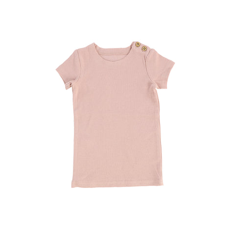 Lil Legs Short Sleeve Ribbed T-Shirt - Blush