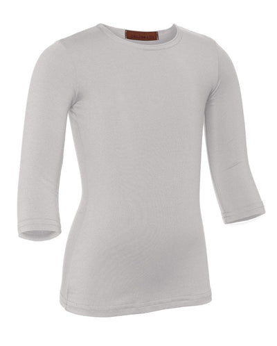 PB&J Girls Cotton 3/4 Sleeve Shell - Light Gray