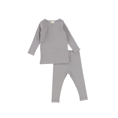 Lil Legs Long Sleeve Ribbed Sets - Dark Grey