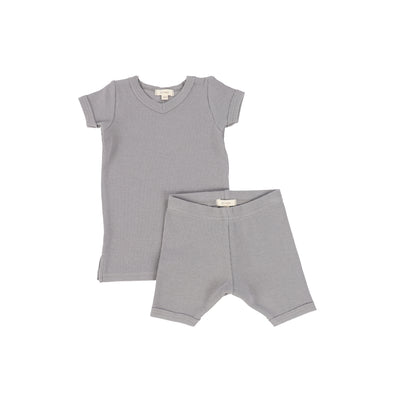 Lil Legs Short Sleeve Ribbed Sets - Dark Grey
