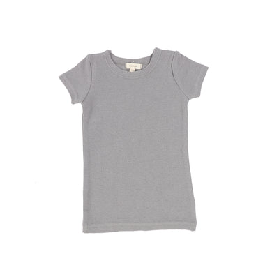 Lil Legs Ribbed Short Sleeve Tee - Dark Grey