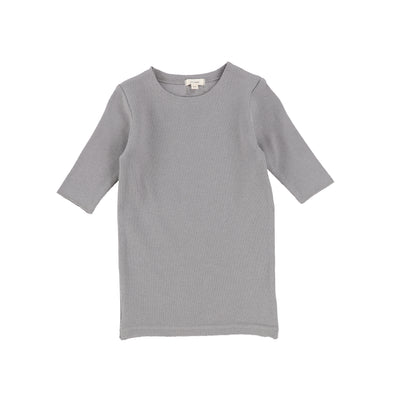 Lil Legs Ribbed Three Quarter Sleeve Tee - Dark Grey