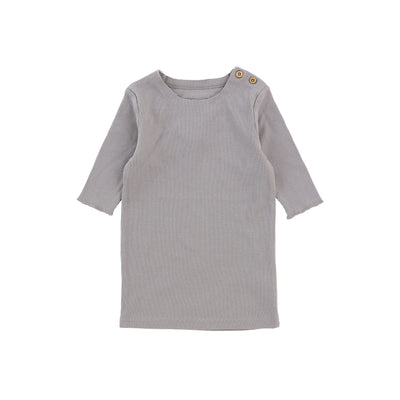 Lil Legs Three Quarter Sleeve Ribbed T-Shirt - Dark Grey