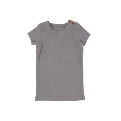 Lil Legs Short Sleeve Ribbed T-Shirt - Dark Grey