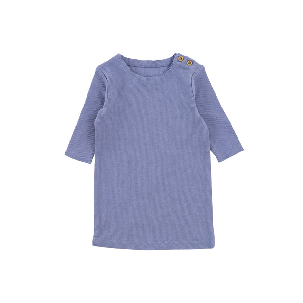 Lil Legs Three Quarter Sleeve Ribbed T-Shirt - Deep Blue